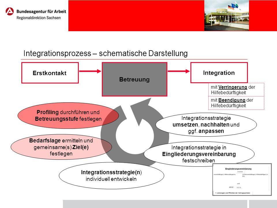 Integrationsprozess – schematische Darstellung Profiling durchführen und Betreuungsstufe festlegen Bedarfslage ermitteln und gemeinsame(s) Ziel(e) fes