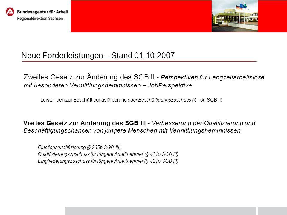 Neue Förderleistungen – Stand 01.10.2007 Zweites Gesetz zur Änderung des SGB II - Perspektiven für Langzeitarbeitslose mit besonderen Vermittlungshemm