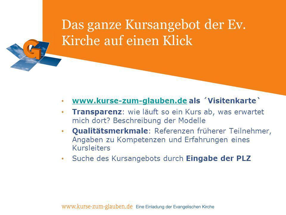 Das ganze Kursangebot der Ev. Kirche auf einen Klick www.kurse-zum-glauben.de als ´Visitenkarte` www.kurse-zum-glauben.de Transparenz: wie läuft so ei