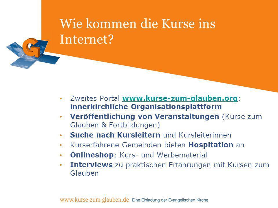 Wie kommen die Kurse ins Internet? Zweites Portal www.kurse-zum-glauben.org: innerkirchliche Organisationsplattformwww.kurse-zum-glauben.org Veröffent