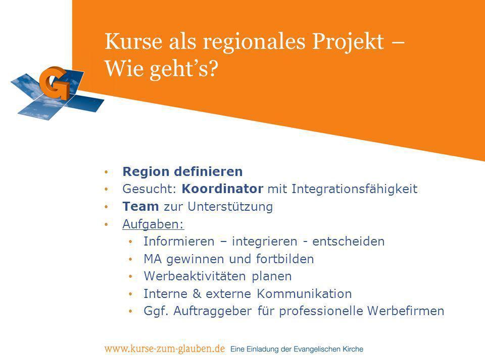 Kurse als regionales Projekt – Wie gehts? Region definieren Gesucht: Koordinator mit Integrationsfähigkeit Team zur Unterstützung Aufgaben: Informiere