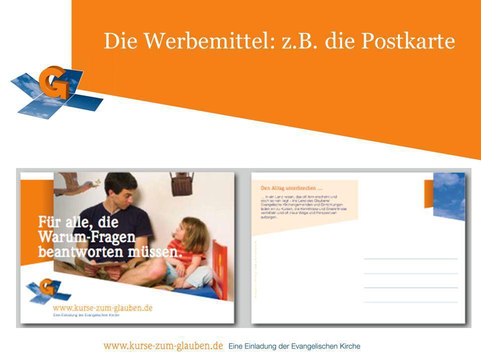 Die Werbemittel: z.B. die Postkarte