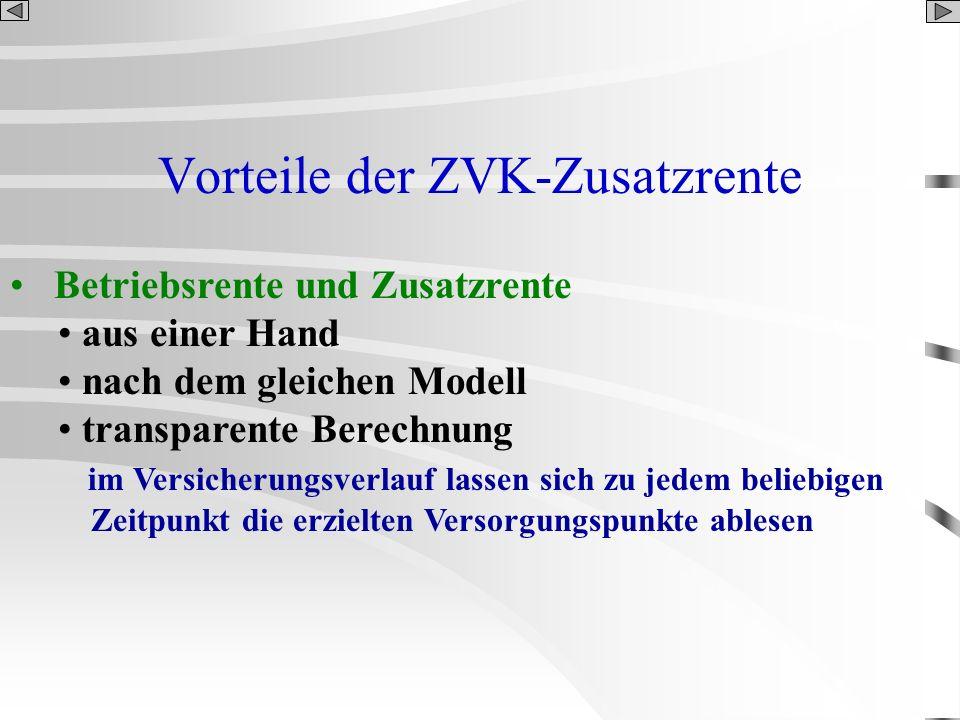 Vorteile der ZVK-Zusatzrente Betriebsrente und Zusatzrente aus einer Hand nach dem gleichen Modell transparente Berechnung im Versicherungsverlauf las