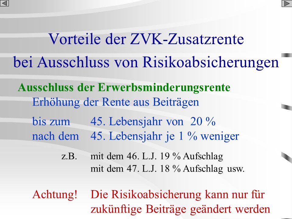 Vorteile der ZVK-Zusatzrente bei Ausschluss von Risikoabsicherungen Ausschluss der Erwerbsminderungsrente Erhöhung der Rente aus Beiträgen bis zum45.