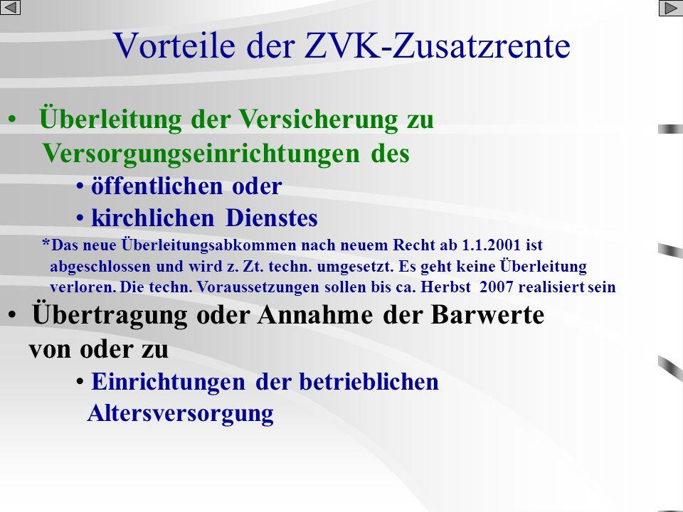 Vorteile der ZVK-Zusatzrente Überleitung der Versicherung zu Versorgungseinrichtungen des öffentlichen oder kirchlichen Dienstes * Das neue Überleitun