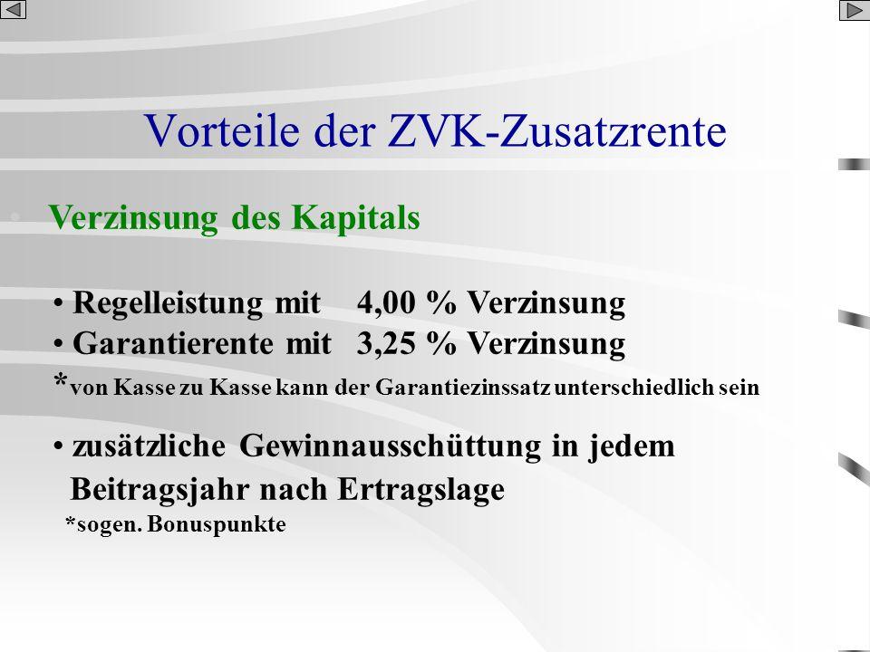 Vorteile der ZVK-Zusatzrente Verzinsung des Kapitals Regelleistung mit 4,00 % Verzinsung Garantierente mit 3,25 % Verzinsung * von Kasse zu Kasse kann
