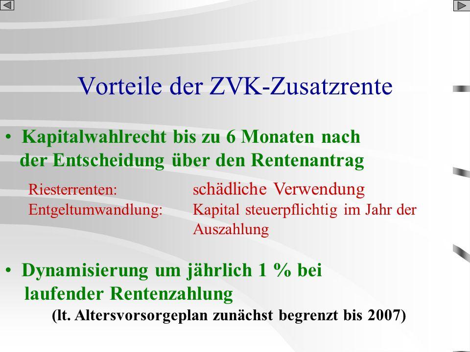 Vorteile der ZVK-Zusatzrente Kapitalwahlrecht bis zu 6 Monaten nach der Entscheidung über den Rentenantrag Riesterrenten:s chädliche Verwendung Entgel