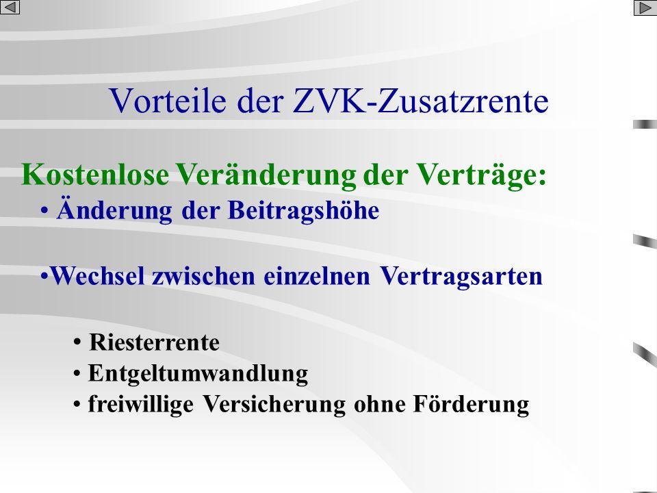 Vorteile der ZVK-Zusatzrente Kostenlose Veränderung der Verträge: Änderung der Beitragshöhe Wechsel zwischen einzelnen Vertragsarten Riesterrente Entg