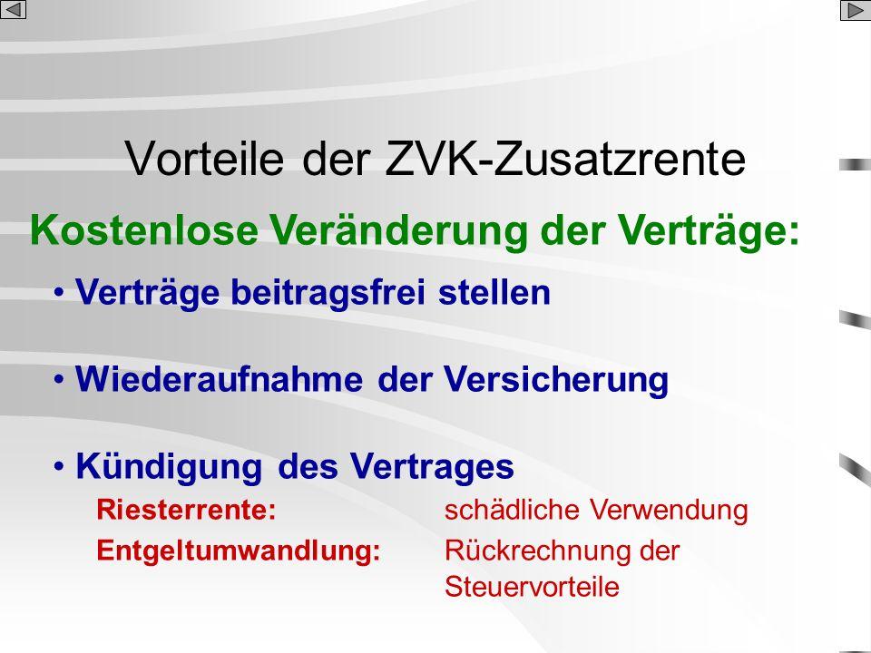 Vorteile der ZVK-Zusatzrente Kostenlose Veränderung der Verträge: Verträge beitragsfrei stellen Wiederaufnahme der Versicherung Kündigung des Vertrage