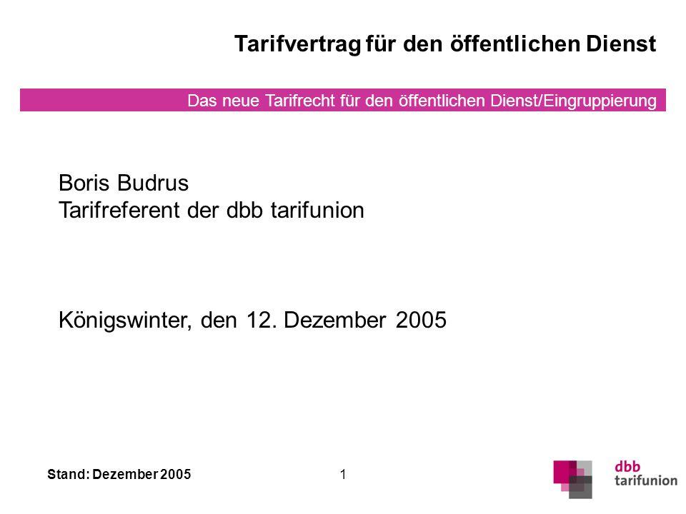 Das neue Tarifrecht für den öffentlichen Dienst/Eingruppierung Stand: Dezember 20051 Boris Budrus Tarifreferent der dbb tarifunion Königswinter, den 12.