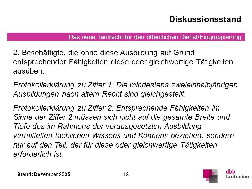 Das neue Tarifrecht für den öffentlichen Dienst/Eingruppierung Stand: Dezember 200518 Diskussionsstand 2.