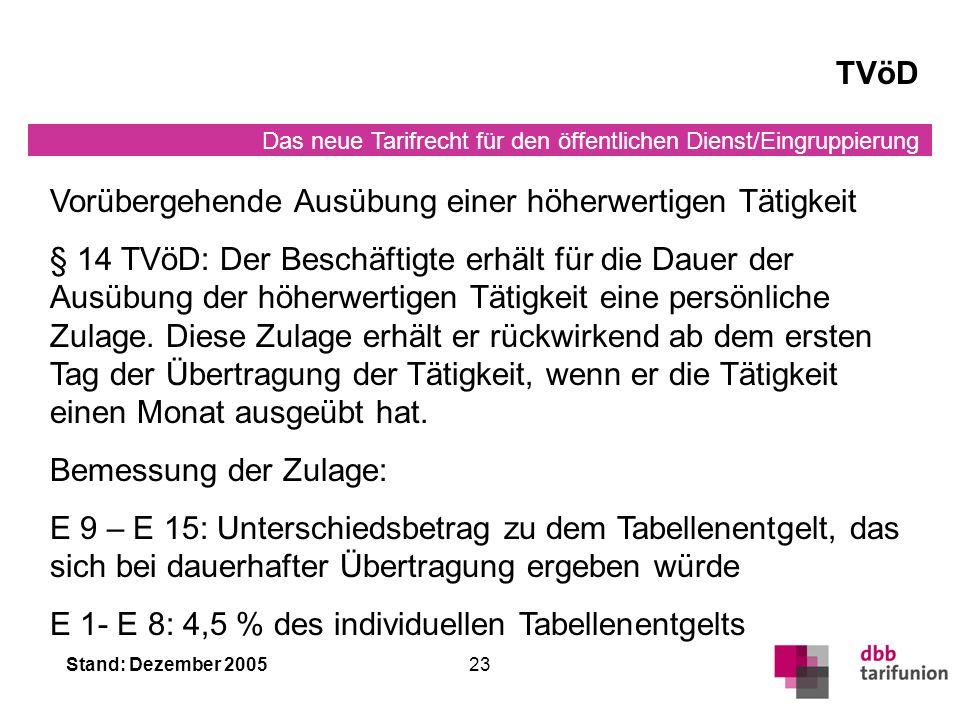 Das neue Tarifrecht für den öffentlichen Dienst/Eingruppierung Stand: Dezember 200523 TVöD Vorübergehende Ausübung einer höherwertigen Tätigkeit § 14 TVöD: Der Beschäftigte erhält für die Dauer der Ausübung der höherwertigen Tätigkeit eine persönliche Zulage.