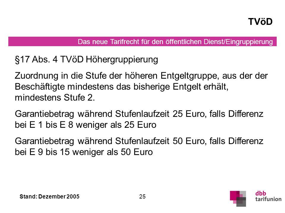 Das neue Tarifrecht für den öffentlichen Dienst/Eingruppierung Stand: Dezember 200525 TVöD §17 Abs.