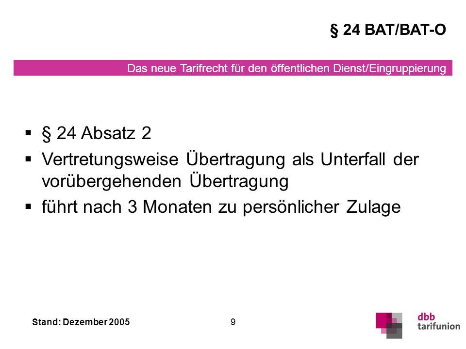 Das neue Tarifrecht für den öffentlichen Dienst/Eingruppierung Stand: Dezember 20059 § 24 Absatz 2 Vertretungsweise Übertragung als Unterfall der vorübergehenden Übertragung führt nach 3 Monaten zu persönlicher Zulage § 24 BAT/BAT-O