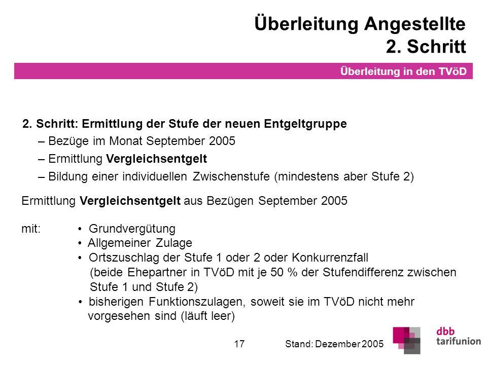 Überleitung in den TVöD 17Stand: Dezember 2005 2. Schritt: Ermittlung der Stufe der neuen Entgeltgruppe – Bezüge im Monat September 2005 – Ermittlung