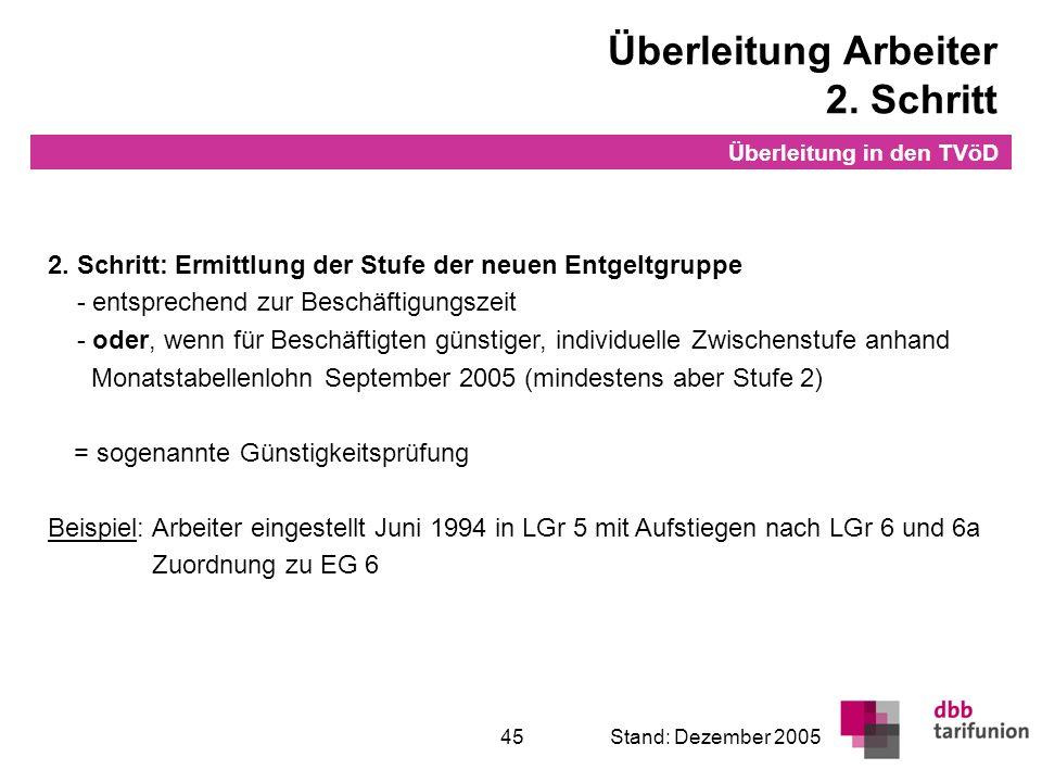 Überleitung in den TVöD 45Stand: Dezember 2005 2. Schritt: Ermittlung der Stufe der neuen Entgeltgruppe - entsprechend zur Beschäftigungszeit - oder,