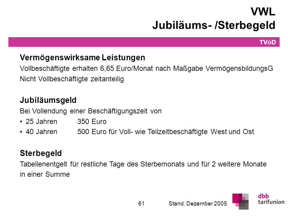 Überleitung in den TVöD 61Stand: Dezember 2005 VWL Jubiläums- /Sterbegeld TVöD Vermögenswirksame Leistungen Vollbeschäftigte erhalten 6,65 Euro/Monat