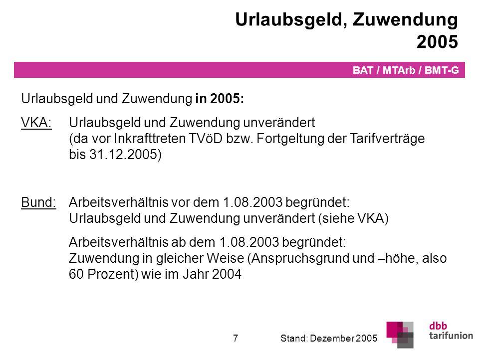 Überleitung in den TVöD 7Stand: Dezember 2005 Urlaubsgeld, Zuwendung 2005 BAT / MTArb / BMT-G Urlaubsgeld und Zuwendung in 2005: VKA:Urlaubsgeld und Z