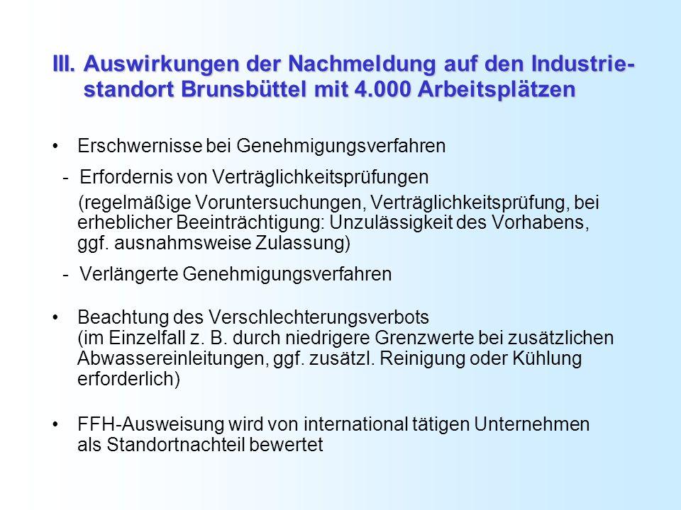 III. Auswirkungen der Nachmeldung auf den Industrie- standort Brunsbüttel mit 4.000 Arbeitsplätzen Erschwernisse bei Genehmigungsverfahren - Erfordern