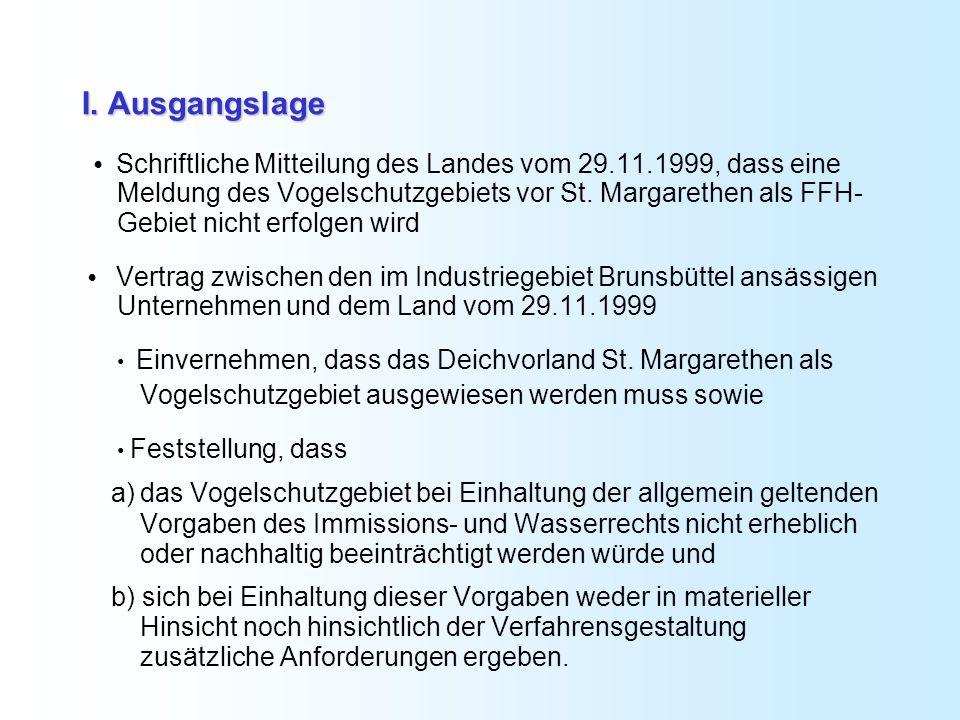I. Ausgangslage Schriftliche Mitteilung des Landes vom 29.11.1999, dass eine Meldung des Vogelschutzgebiets vor St. Margarethen als FFH- Gebiet nicht