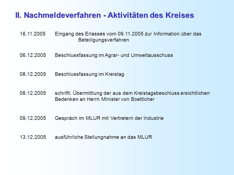 16.11.2005Eingang des Erlasses vom 09.11.2005 zur Information über das Beteiligungsverfahren 06.12.2005Beschlussfassung im Agrar- und Umweltausschuss