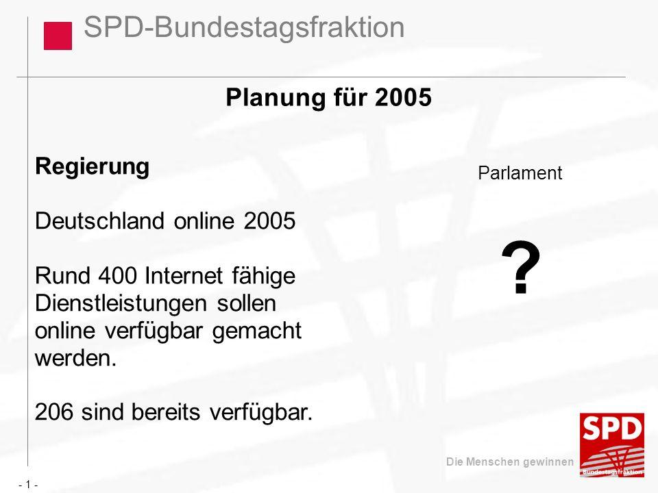 SPD-Bundestagsfraktion Die Menschen gewinnen Planung für 2005 Regierung Deutschland online 2005 Rund 400 Internet fähige Dienstleistungen sollen onlin