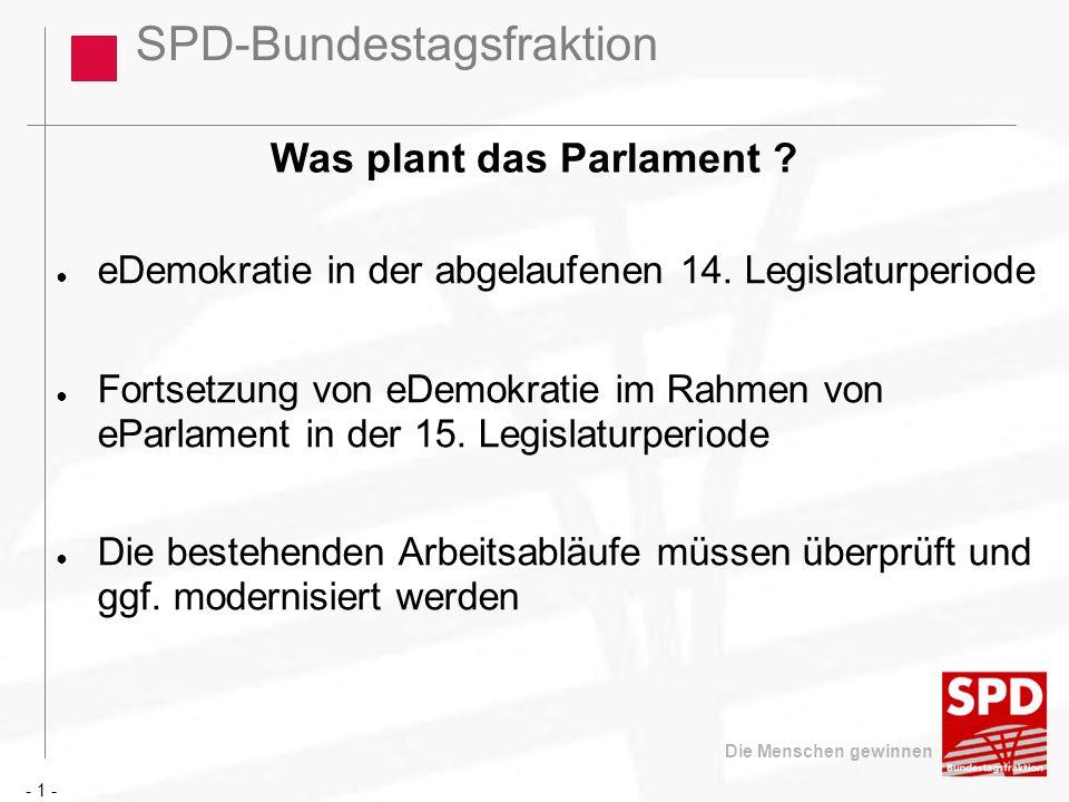 SPD-Bundestagsfraktion Die Menschen gewinnen Was plant das Parlament ? eDemokratie in der abgelaufenen 14. Legislaturperiode Fortsetzung von eDemokrat