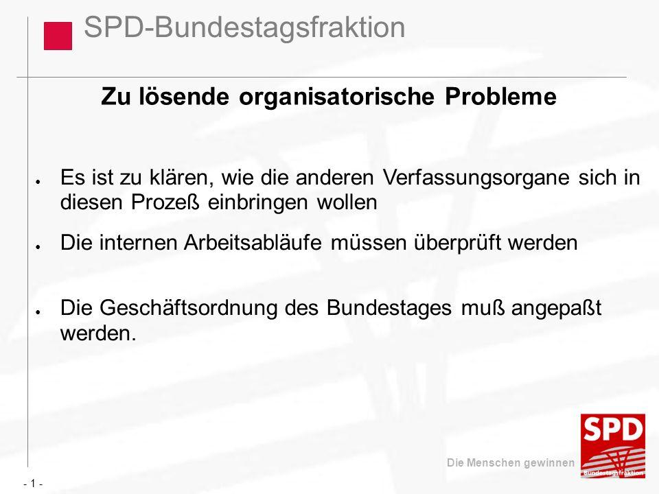 SPD-Bundestagsfraktion Die Menschen gewinnen Zu lösende organisatorische Probleme Es ist zu klären, wie die anderen Verfassungsorgane sich in diesen P