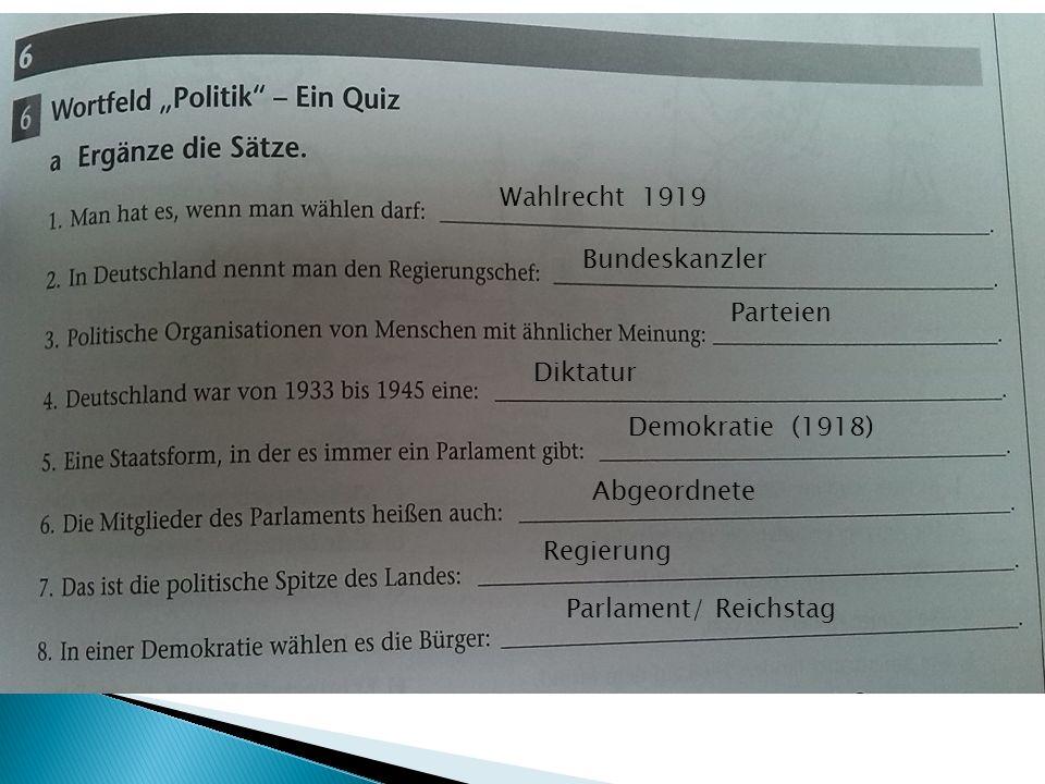 Wahlrecht 1919 Bundeskanzler Parteien Diktatur Demokratie (1918) Abgeordnete Regierung Parlament/ Reichstag