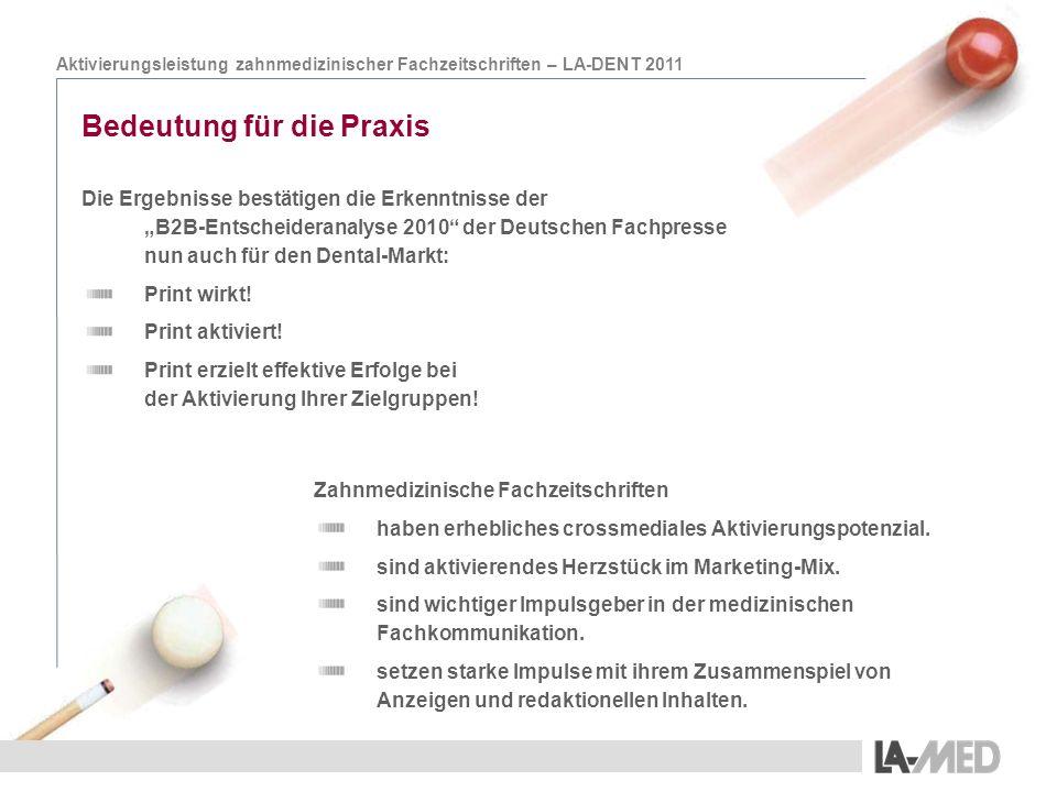 Aktivierungsleistung zahnmedizinischer Fachzeitschriften – LA-DENT 2011 Bedeutung für die Praxis Die Ergebnisse bestätigen die Erkenntnisse der B2B-En