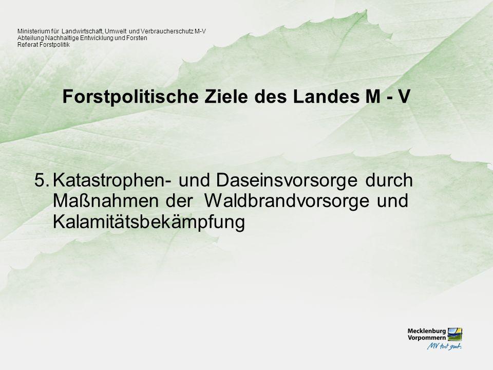 Forstpolitische Ziele des Landes M - V Ministerium für Landwirtschaft, Umwelt und Verbraucherschutz M-V Abteilung Nachhaltige Entwicklung und Forsten