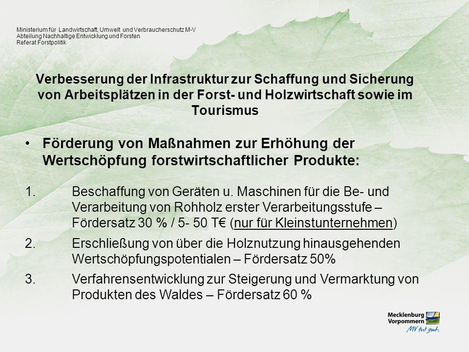 Verbesserung der Infrastruktur zur Schaffung und Sicherung von Arbeitsplätzen in der Forst- und Holzwirtschaft sowie im Tourismus Ministerium für Land