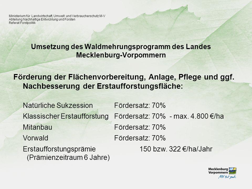Erhöhung der Stabilität der Wälder durch Förderung des Waldumbauprogramms Ministerium für Landwirtschaft, Umwelt und Verbraucherschutz M-V Abteilung Nachhaltige Entwicklung und Forsten Referat Forstpolitik Förderung von: Waldstrukturdatenerhebung 70% - max.