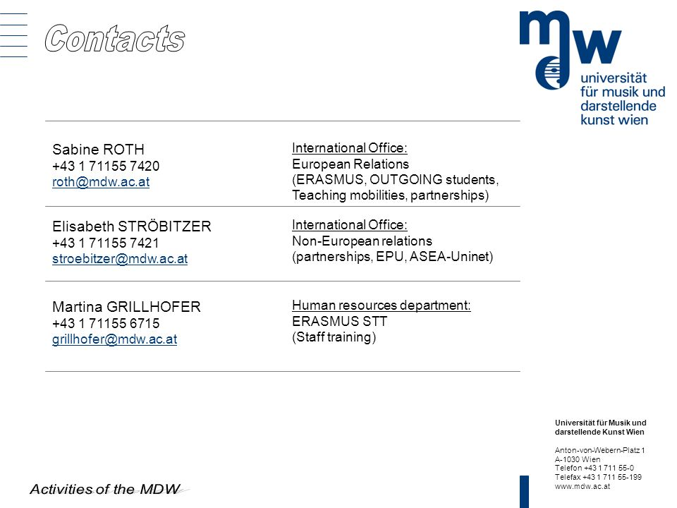 Universität für Musik und darstellende Kunst Wien Anton-von-Webern-Platz 1 A-1030 Wien Telefon +43 1 711 55-0 Telefax +43 1 711 55-199 www.mdw.ac.at S