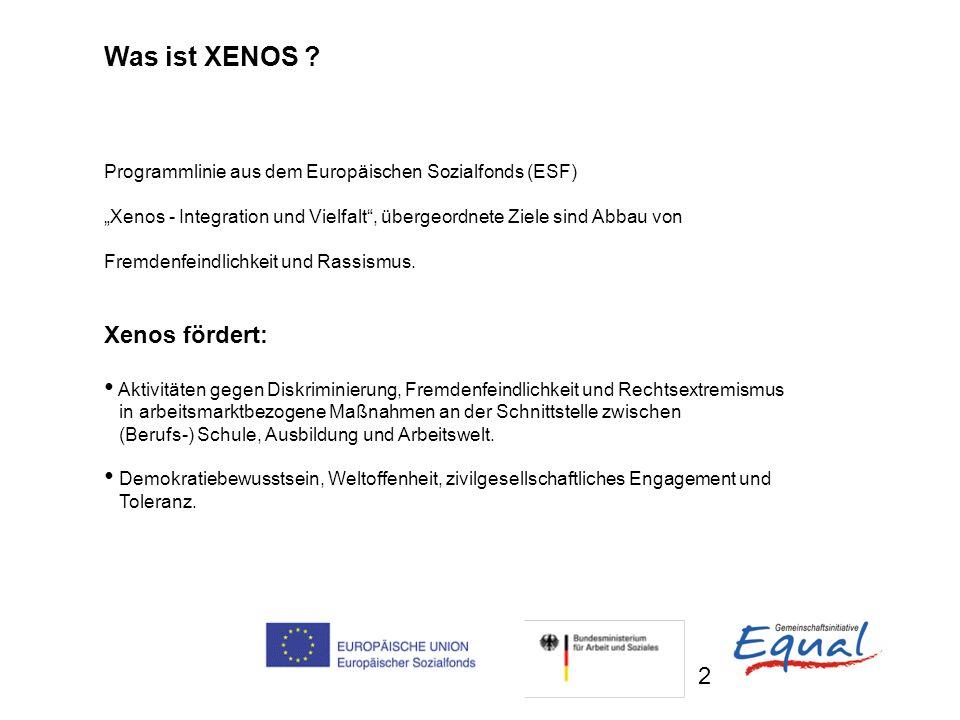2 Was ist XENOS ? Programmlinie aus dem Europäischen Sozialfonds (ESF) Xenos - Integration und Vielfalt, übergeordnete Ziele sind Abbau von Fremdenfei
