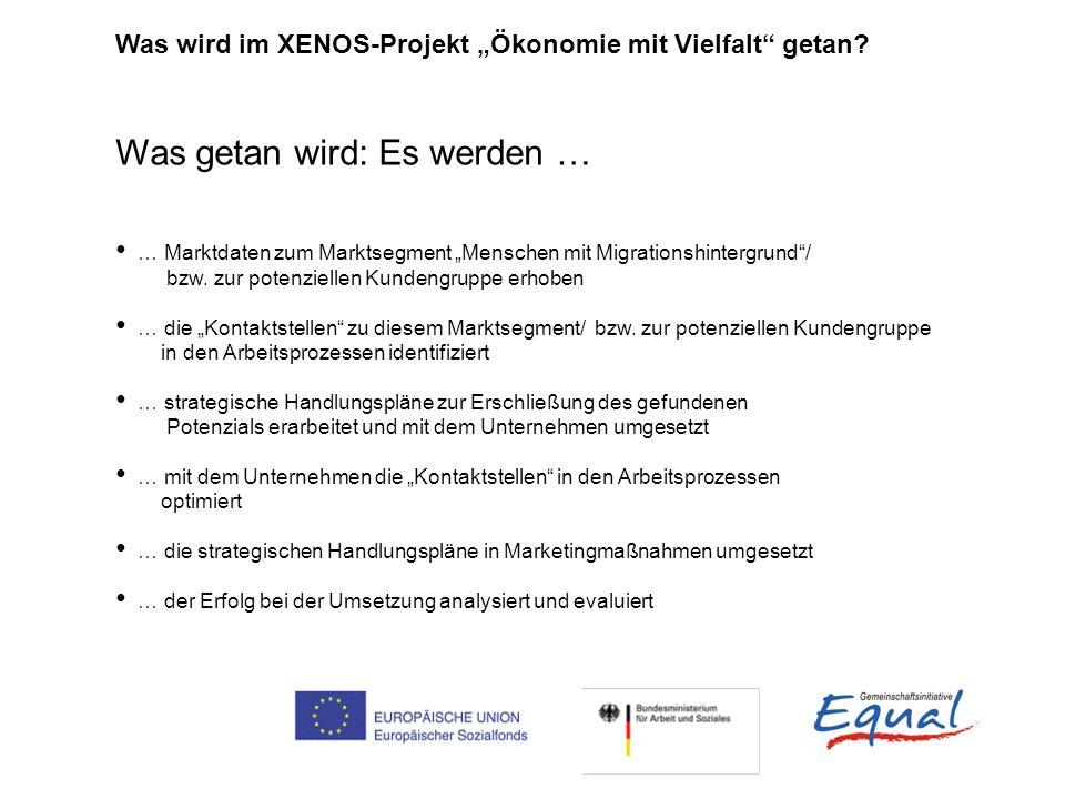 Was wird im XENOS-Projekt Ökonomie mit Vielfalt getan? Was getan wird: Es werden … … Marktdaten zum Marktsegment Menschen mit Migrationshintergrund/ b