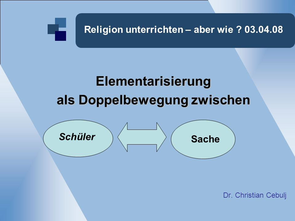Religion unterrichten – aber wie ? 03.04.08 Elementarisierung als Doppelbewegung zwischen Dr. Christian Cebulj Schüler Sache