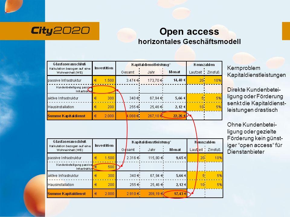Open access horizontales Geschäftsmodell Kernproblem Kapitaldienstleistungen Direkte Kundenbetei- ligung oder Förderung senkt die Kapitaldienst- leistungen drastisch Ohne Kundenbetei- ligung oder gezielte Förderung kein günst- iger open access für Dienstanbieter