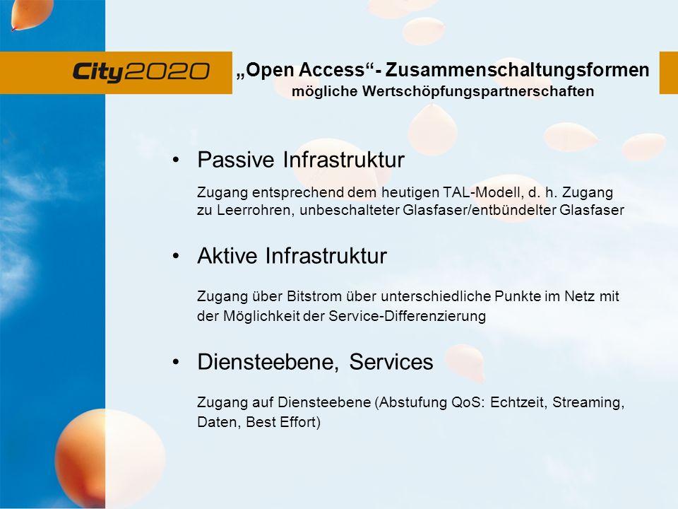 Open Access- Zusammenschaltungsformen mögliche Wertschöpfungspartnerschaften Passive Infrastruktur Zugang entsprechend dem heutigen TAL-Modell, d. h.