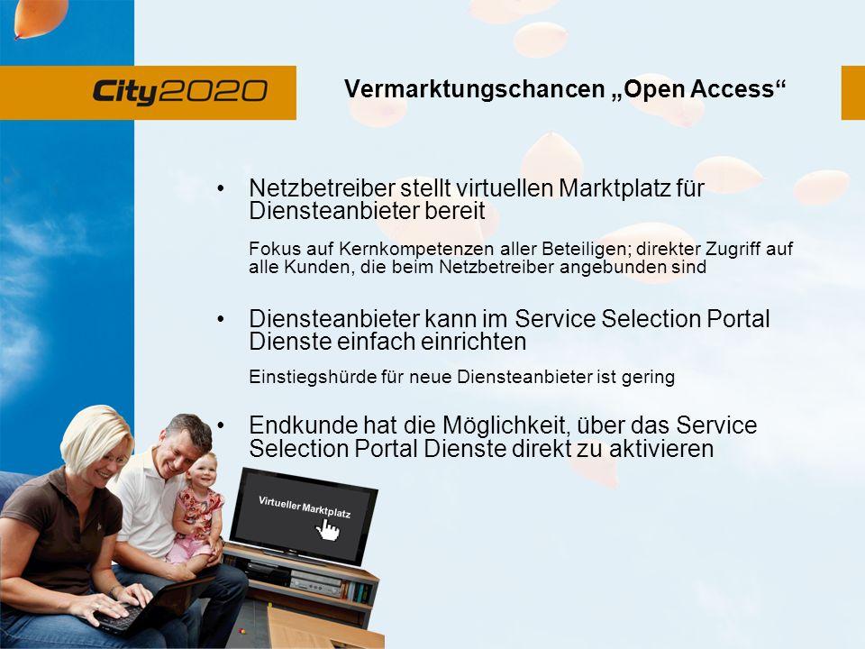Vermarktungschancen Open Access Netzbetreiber stellt virtuellen Marktplatz für Diensteanbieter bereit Fokus auf Kernkompetenzen aller Beteiligen; dire