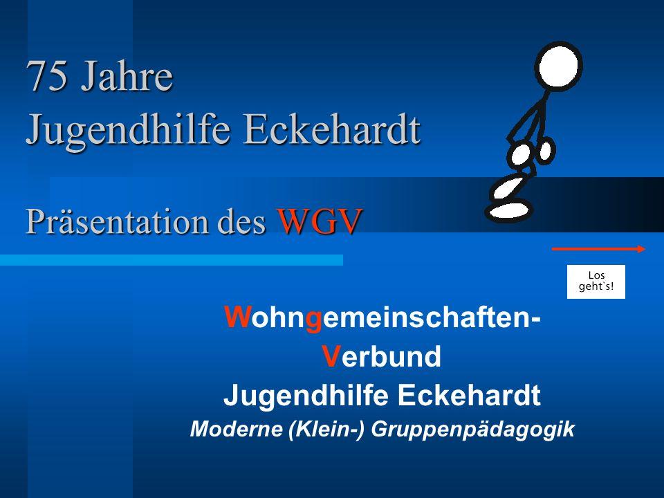 75 Jahre Jugendhilfe Eckehardt Präsentation des WGV Wohngemeinschaften- Verbund Jugendhilfe Eckehardt Moderne (Klein-) Gruppenpädagogik