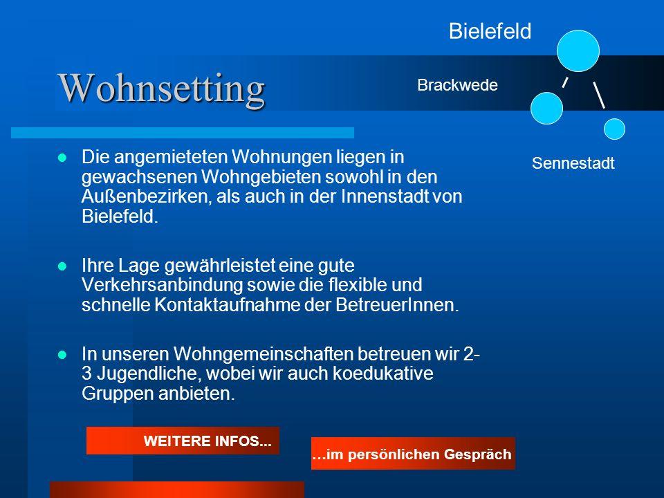 Wohnsetting Die angemieteten Wohnungen liegen in gewachsenen Wohngebieten sowohl in den Außenbezirken, als auch in der Innenstadt von Bielefeld. Ihre