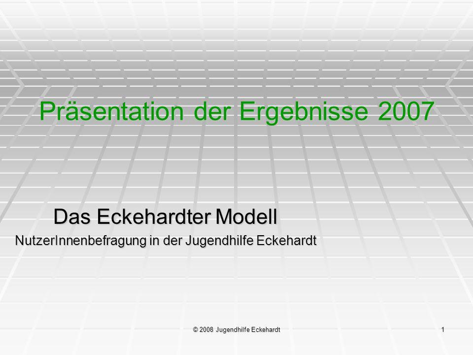 © 2008 Jugendhilfe Eckehardt22 Das Eckehardter Modell Rückmeldungen der Jugendlichen 2007: Step by Step (VTO) Ich war mit der Lage meiner Wohnung/Gruppe zufrieden.