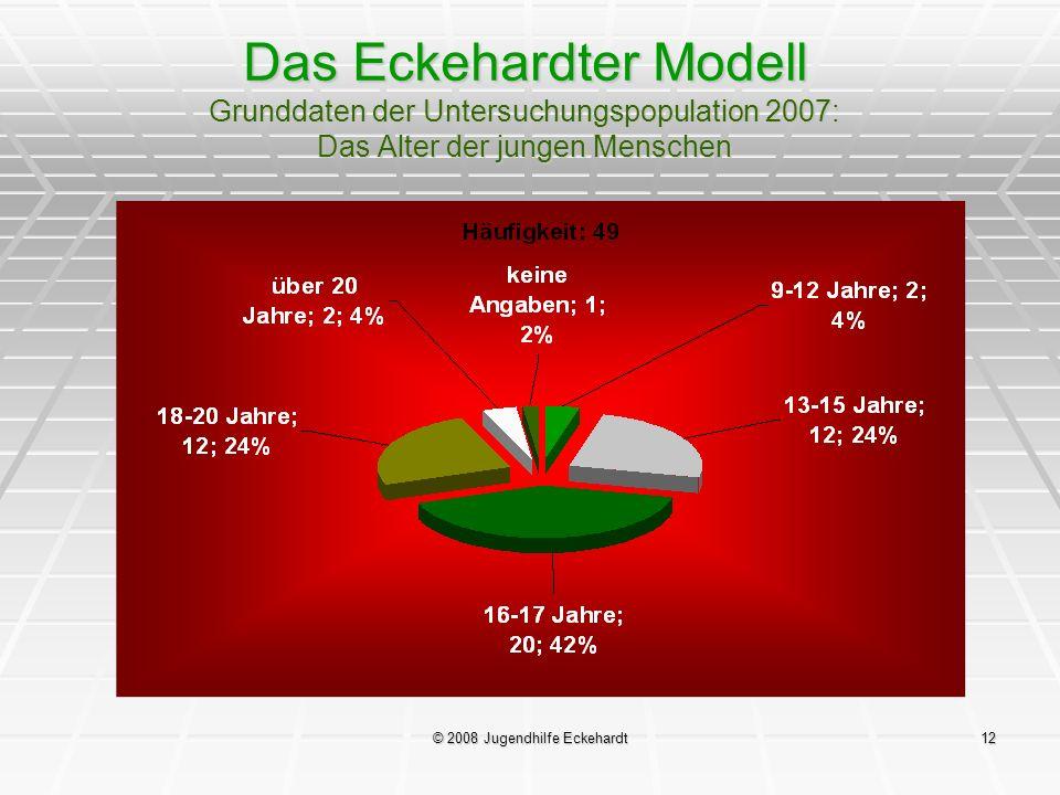 © 2008 Jugendhilfe Eckehardt12 Das Eckehardter Modell Grunddaten der Untersuchungspopulation 2007: Das Alter der jungen Menschen