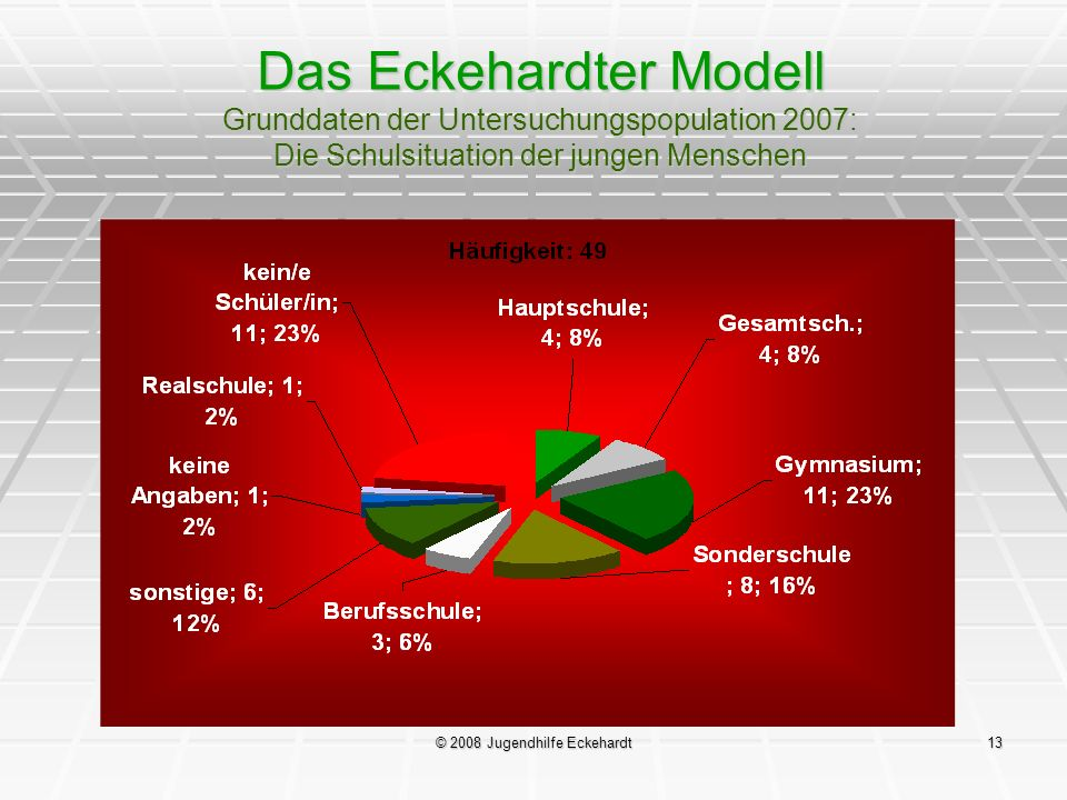 © 2008 Jugendhilfe Eckehardt13 Das Eckehardter Modell Grunddaten der Untersuchungspopulation 2007: Die Schulsituation der jungen Menschen