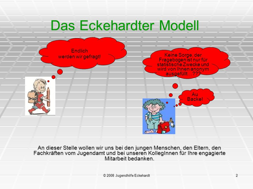 © 2008 Jugendhilfe Eckehardt3 Das Eckehardter Modell Untersuchungsteil 1 Erstbefragung der neu aufgenommenen jungen Menschen in den ersten zwei bis drei Monaten nach der Aufnahme.