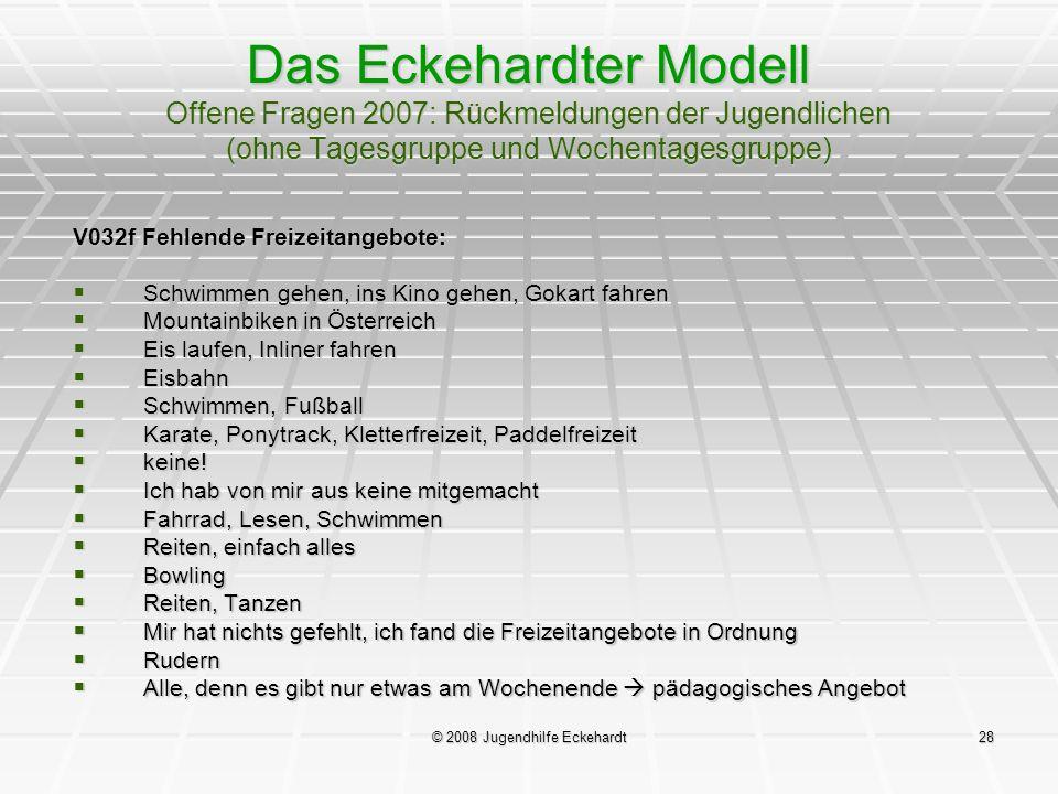 © 2008 Jugendhilfe Eckehardt28 Das Eckehardter Modell Offene Fragen 2007: Rückmeldungen der Jugendlichen (ohne Tagesgruppe und Wochentagesgruppe) V032