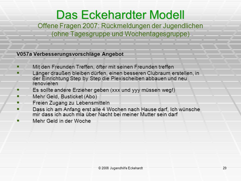 © 2008 Jugendhilfe Eckehardt29 Das Eckehardter Modell Offene Fragen 2007: Rückmeldungen der Jugendlichen (ohne Tagesgruppe und Wochentagesgruppe) V057