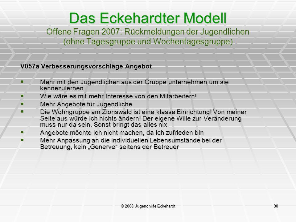 © 2008 Jugendhilfe Eckehardt30 Das Eckehardter Modell Offene Fragen 2007: Rückmeldungen der Jugendlichen (ohne Tagesgruppe und Wochentagesgruppe) V057