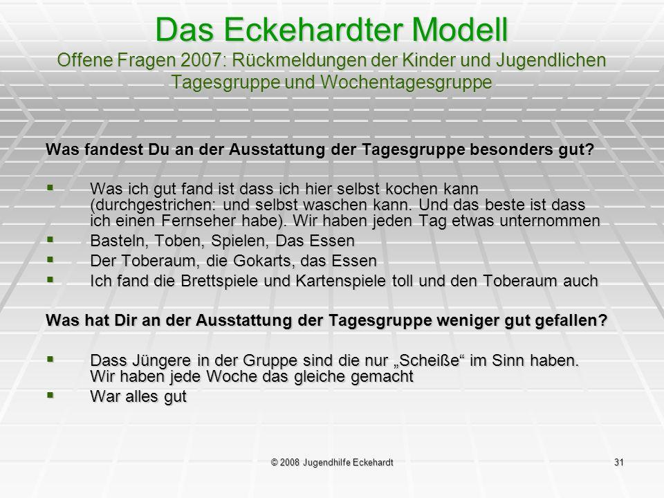 © 2008 Jugendhilfe Eckehardt31 Das Eckehardter Modell Offene Fragen 2007: Rückmeldungen der Kinder und Jugendlichen Tagesgruppe und Wochentagesgruppe